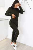 Green Polyester Casual Patchwork Solid Two Piece Suits Straight Long Sleeve Two-piece Pants Set