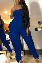 Blue Fashion street Ruffled Solid Sleeveless Wrapped Jumpsuits