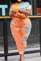 Orange Polyester Street O Neck Print Solid Tie Dye Plus Size
