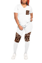 White knit Casual Leopard Patchwork Print Fluorescent pencil Short Sleeve Two Pieces