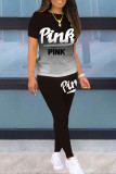 Black Casual Gradual Change Letter Print Split Joint O Neck Short Sleeve Two Pieces