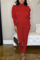 Red Fashion Casual Adult Polyester Solid Fold O Neck Long Sleeve Hubble-Bubble Sleeve Regular Two Pieces