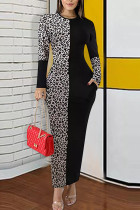 Apricot Polyester Street Long Sleeves O neck Pencil Dress Ankle-Length Leopard Colouring Dresses