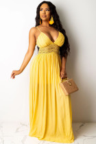 Yellow Polyester adult Casual Fashion Spaghetti Strap Sleeveless Slip Swagger Floor-Length Solid Patchwork