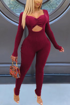 Wine Red Fashion Sexy Solid Hollowed Out Square Collar Skinny Jumpsuits