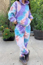 multicolor Daily Print Split Joint Tie-dye Hooded Collar Long Sleeve Two Pieces