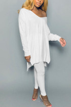 White Polyester Fashion adult Ma'am Street Solid Two Piece Suits pencil Long Sleeve Two Pieces