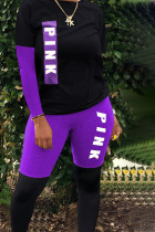 purple Polyester Street Print pencil Long Sleeve Two Pieces