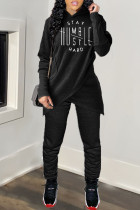 Black Casual Letter Split Joint Hooded Collar Long Sleeve Two Pieces