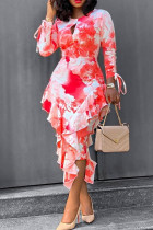 Red Polyester Fashion Sexy adult Ma'am O Neck Patchwork Print Stitching Plus Size
