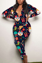 Navy Blue Sexy Party Patchwork Print Santa Claus V Neck Skinny Jumpsuits