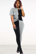 Black Polyester Fashion adult Ma'am Street Patchwork Solid asymmetrical contrast color Two Piece Suits pencil Short Sleeve Two Pieces