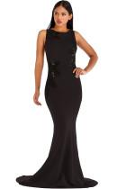 Black Polyester Celebrities Tank Sleeveless O neck Step Skirt Floor-Length Solid