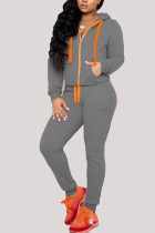 Dark Gray Sexy Casual Polyester Cotton Blends Solid Draw String Pocket Hooded Collar Long Sleeve Regular Sleeve Regular Two Pieces
