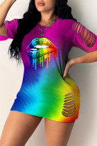 Purple Fashion Casual Lips Printed Hollowed Out O Neck Short Sleeve Dress