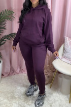Purple Sexy Print Hooded Collar Long Sleeve Two Pieces