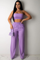 purple Polyester Fashion Sexy adult Ma'am Patchwork Solid Two Piece Suits Loose Sleeveless Two Pieces