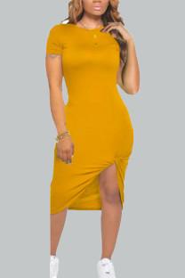Ginger Casual Solid Split Joint O Neck Irregular Dress Dresses
