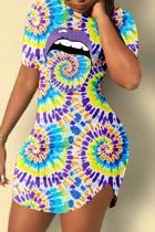 Purple Casual Print Split Joint O Neck Pencil Skirt Dresses