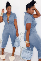 Light Blue Fashion Sexy Patchwork Button Solid zipper The cowboy Short Sleeve Turndown Collar Jumpsuits