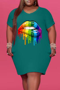 Green Fashion Casual Plus Size Lips Printed Basic V Neck Short Sleeve Dress
