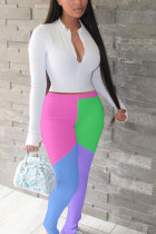 White Polyester Active Casual Patchwork Solid asymmetrical pencil Long Sleeve Two Pieces