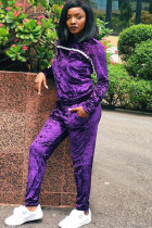 purple Polyester Street Solid Two Piece Suits pencil Long Sleeve Two-piece Pants Set