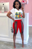 Red knit Fashion Sexy adult Ma'am Patchwork Print Character Bandage Two Piece Suits Straight Short Sleeve Two Pieces