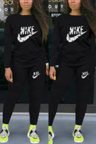 Black Fashion Casual Letter Print Basic O Neck Long Sleeve Two Pieces