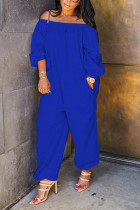 Blue street Solid Polyester Long Sleeve one word collar Jumpsuits