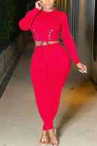 Red Fashion Casual Adult Polyester Solid Bandage O Neck Long Sleeve Regular Sleeve Short Two Pieces