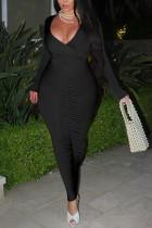 Black Fashion Sexy Polyester Milk Fiber Solid Fold V Neck Long Sleeve Ankle Length Pencil Skirt Dresses