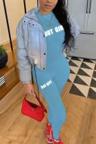 Royal Blue Casual Letter Print O Neck Regular Jumpsuits