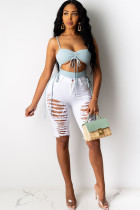 White Denim Button Fly Zipper Fly Mid Hole Solid pencil Capris Shorts