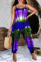 Purple Fashion Casual Tie Dye Printing Spaghetti Strap Regular Jumpsuits