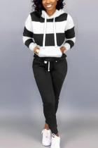Black White Elegant Solid Split Joint Hooded Collar Long Sleeve Regular Sleeve Regular Two Pieces