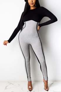 Black Fashion Casual Patchwork Split Joint O Neck Skinny Jumpsuits