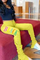 Yellow Black Grey Green Yellow Polyester Elastic Fly Mid Print Boot Cut Pants Bottoms