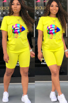 Yellow Cotton Fashion Active Print Two Piece Suits pencil Short Sleeve Two Pieces