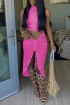 Pink Sexy Casual Solid Slit Turtleneck Sleeveless Two Pieces