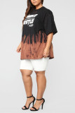 Black Polyester Casual Print Straight Short Sleeve Two Pieces