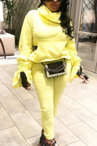 Yellow Sexy Solid Split Joint Turtleneck Long Sleeve Two Pieces