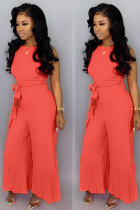 Red Sexy zipper Draped Solid flax Sleeveless Slip Jumpsuits
