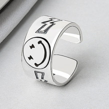 Silver Fashion Smiley Ring Jewelry