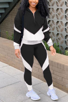 Black Casual Striped Split Joint Long Sleeve Two Pieces