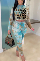 Blue Polyester Fashion Casual adult Ma'am Patchwork Print Two Piece Suits pencil Long Sleeve Two Pieces