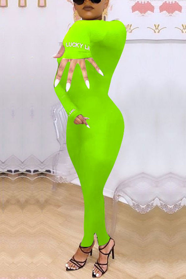 Fluorescent green Casual Polyester Cotton Blends Letter Solid Embroidered Half A Turtleneck Skinny Jumpsuits