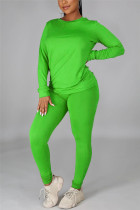 Green Casual Solid Basic O Neck Long Sleeve Two Pieces