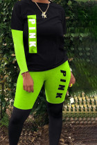 Fluorescent green Polyester Street Print pencil Long Sleeve Two Pieces