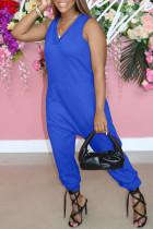 Blue Fashion Casual Solid Basic V Neck Regular Jumpsuits